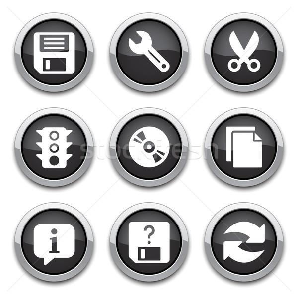 Preto básico aplicação botões brilhante software Foto stock © artizarus