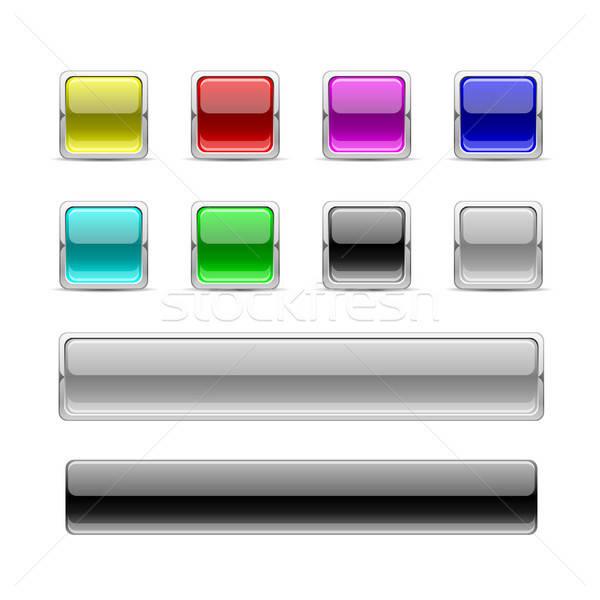 Praça botões branco projeto metal Foto stock © artizarus
