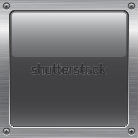 Metal botão brilhante cinza superfície metálica textura Foto stock © artizarus