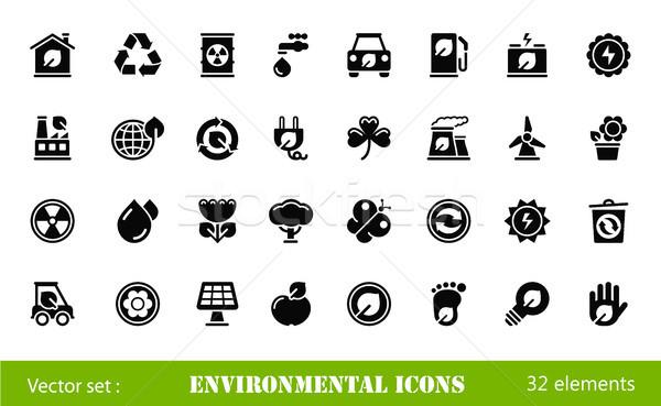 Environnement icônes noir voiture main monde Photo stock © artizarus