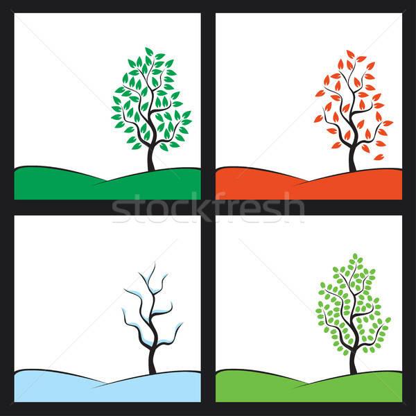 Temporadas ilustração árvore colina primavera fundo Foto stock © artizarus