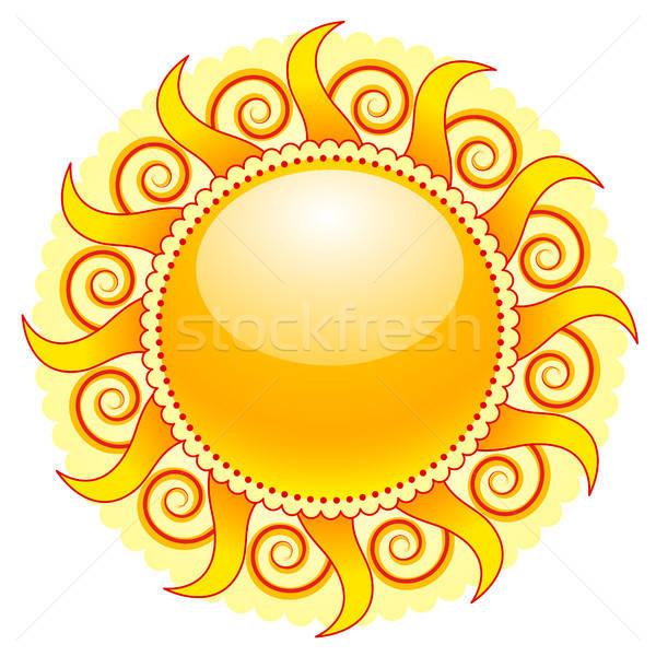 Sol ícone brilhante isolado branco abstrato Foto stock © artizarus