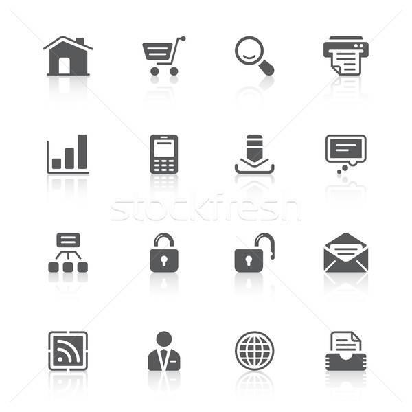 Site ícones preto reflexões web design casa Foto stock © artizarus