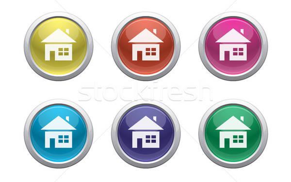 Plastik ev düğmeler renk simge beyaz Stok fotoğraf © artizarus