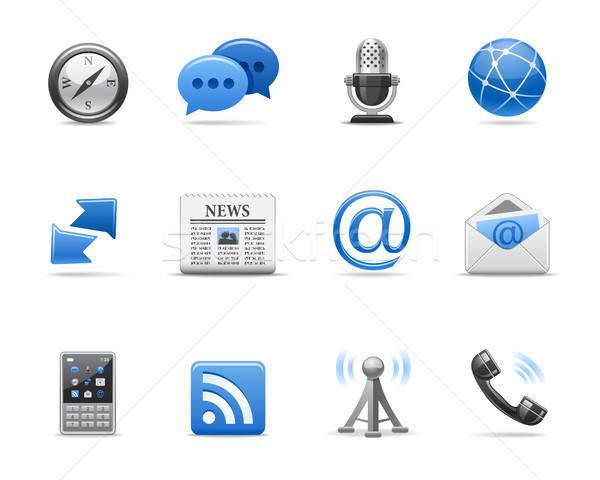 Comunicação ícones web design telefone internet globo Foto stock © artizarus