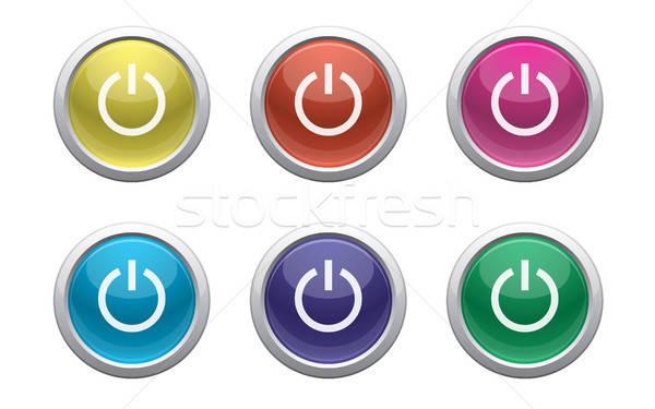 Plástico poder botões branco símbolo verde Foto stock © artizarus