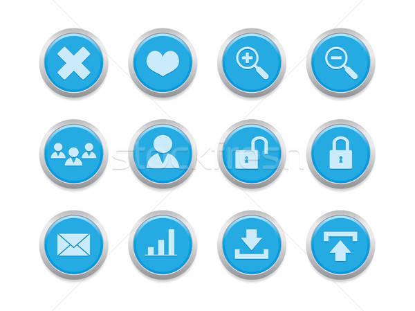 Blauw internet internet pictogrammen website blog presentatie Stockfoto © artizarus
