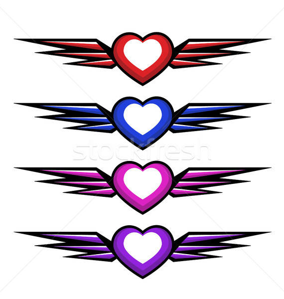Vector heart with wings