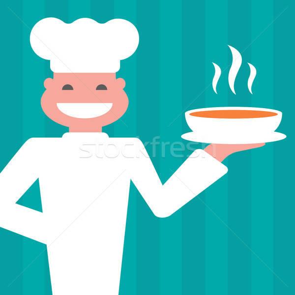Szakács mosolyog forró étel étel mosoly Stock fotó © artizarus