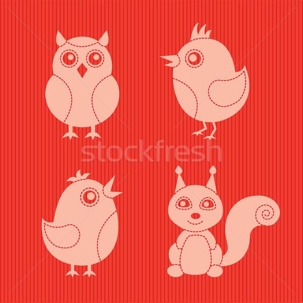 Elegante animais quatro vermelho têxtil silhueta Foto stock © artizarus