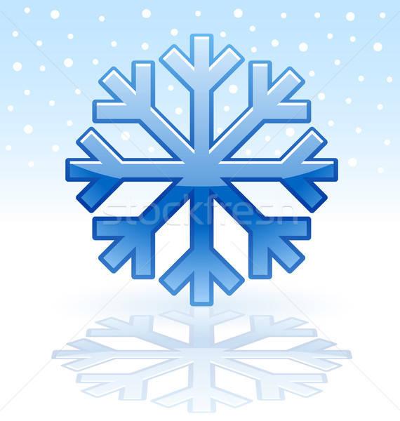 Brilhante floco de neve ícone azul reflexão prato Foto stock © artizarus