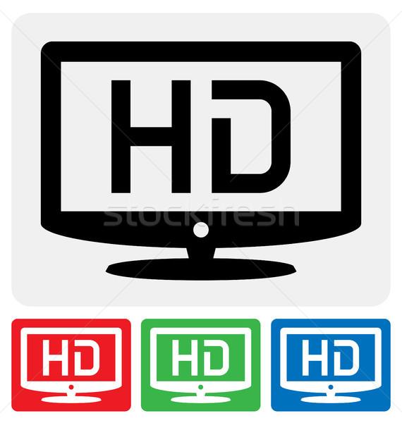 Hdtv икона высокое разрешение телевидение символ знак Сток-фото © artizarus