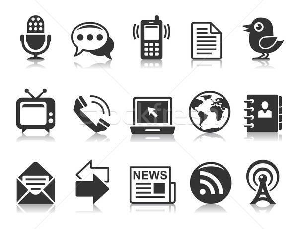 Comunicação ícones preto reflexões branco internet Foto stock © artizarus