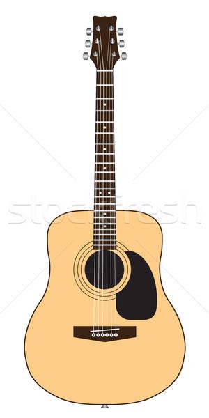 Color guitarra acústica aislado blanco Foto stock © artizarus