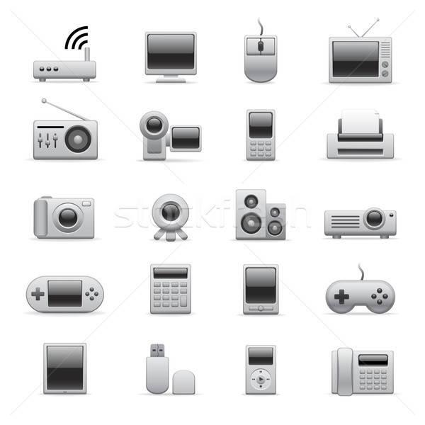 Foto stock: Prata · eletrônico · ícones · site · apresentação · computador