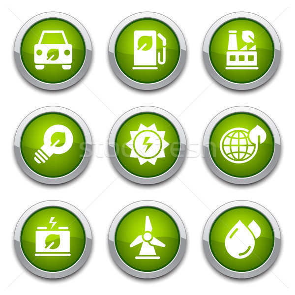 Verde ecologia botões brilhante ambiental projeto Foto stock © artizarus