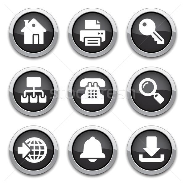 Zwarte internet knoppen schaduwen telefoon home web Stockfoto © artizarus