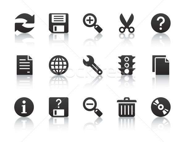 Uniwersalny oprogramowania ikona czarny Internetu Zdjęcia stock © artizarus