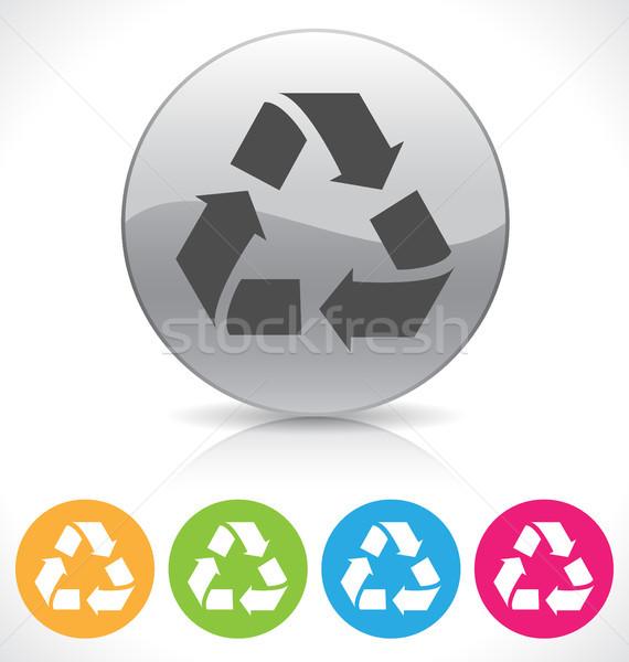 Reciclar botão prata brilhante reflexão prato Foto stock © artizarus