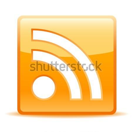 Rss icona lucido piazza ombra bianco Foto d'archivio © artizarus