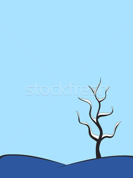 Neve árvore colina inverno abstrato natureza Foto stock © artizarus