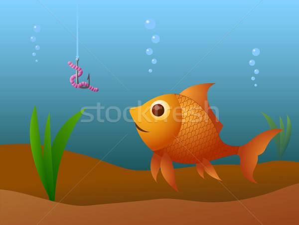 Pescaria faminto ouro peixe água esportes Foto stock © artizarus
