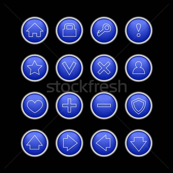 Escuro azul os ícones do web preto conjunto isolado Foto stock © artizarus
