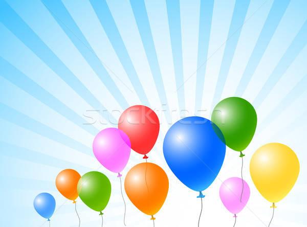 Balões céu cor blue sky aniversário azul Foto stock © artizarus