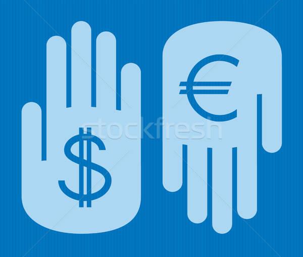 валюта два рук иностранная валюта доллара евро Сток-фото © artizarus