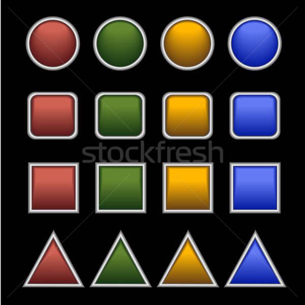 Teia botões preto conjunto plástico isolado Foto stock © artizarus