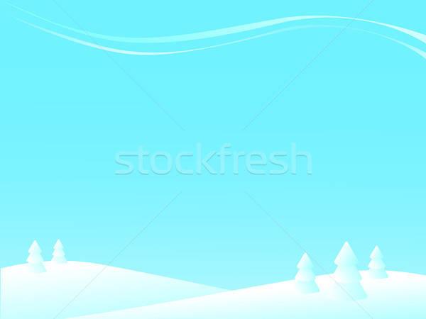 Inverno paisagem árvores neve hills fundo Foto stock © artizarus