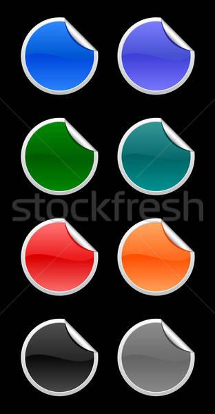 Adesivos cor preto projeto azul Foto stock © artizarus