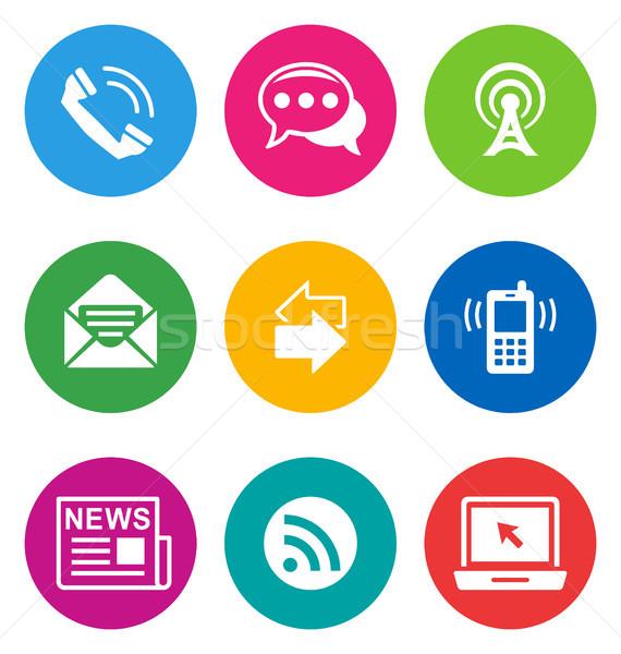 color communication icons Stock photo © artizarus