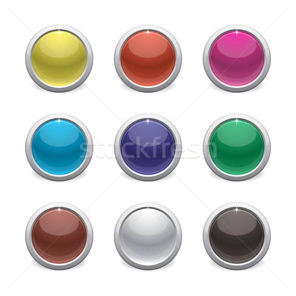 Brilhante plástico botões cor branco vermelho Foto stock © artizarus