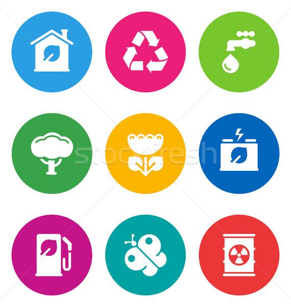 Foto stock: Color · ambiental · iconos · circular · aislado · blanco