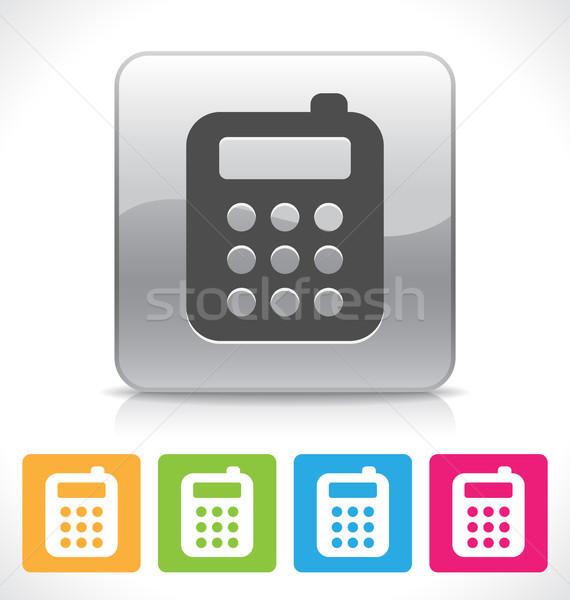Telefone móvel ícone prata brilhante reflexão prato Foto stock © artizarus