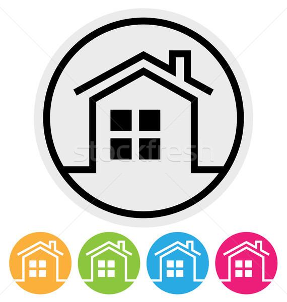 Casa ícone isolado branco casa edifício Foto stock © artizarus