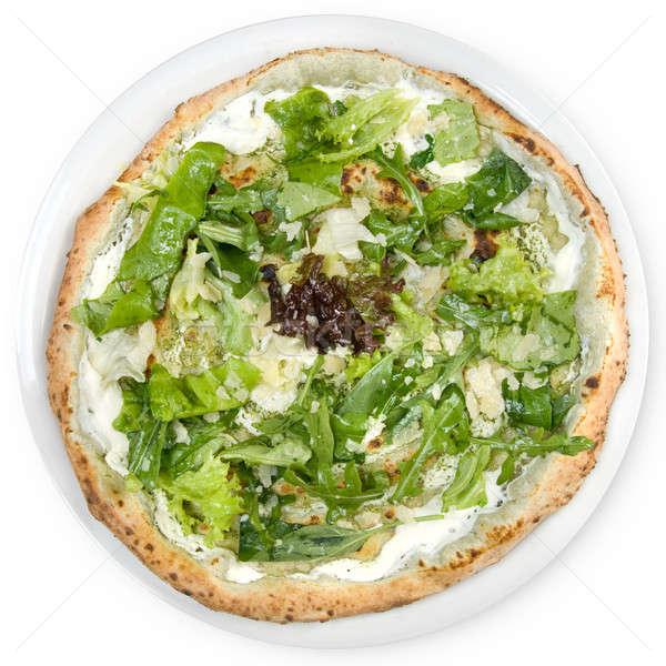 italian pizza with potherbs and cheese Stock photo © artjazz