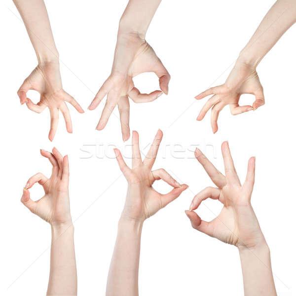 Kéz ok felirat izolált fehér üzlet Stock fotó © artjazz