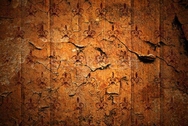 Grunge retro fal absztrakt narancs űr Stock fotó © artjazz