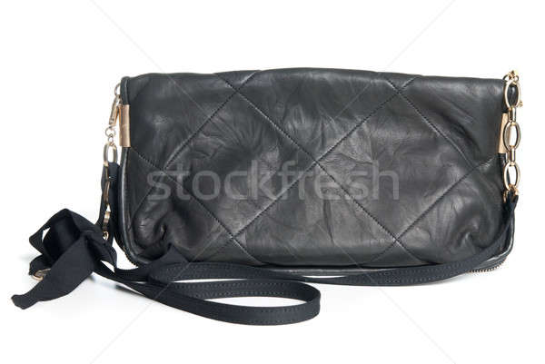 black leather clutch isolated on white Stock photo © artjazz