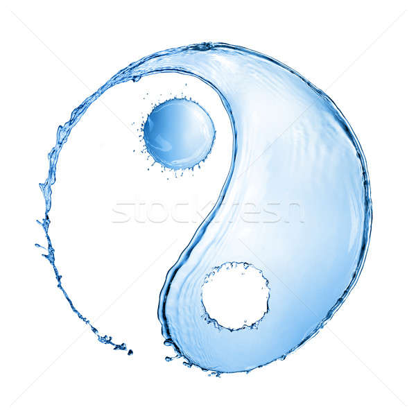 Csobbanás forma yin yang felirat kettő víz Stock fotó © artjazz