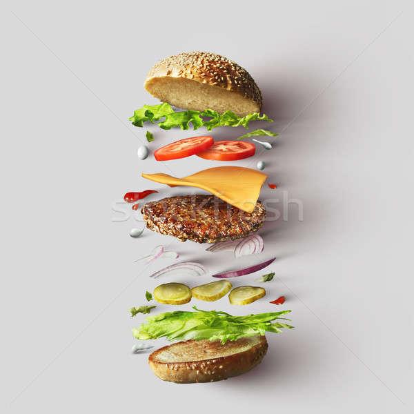 Stockfoto: Hamburger · ingrediënten · witte · top · cheeseburger