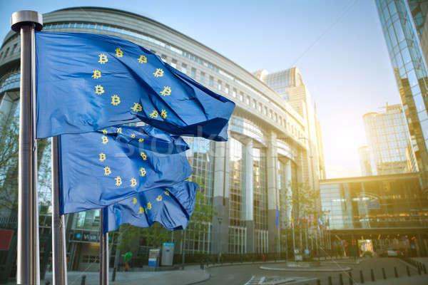 Symbool bitcoin Blauw vlag regeling valuta Stockfoto © artjazz