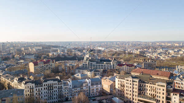 Vozdvizhenka district in the city Kyiv with aerial drone photography Stock photo © artjazz