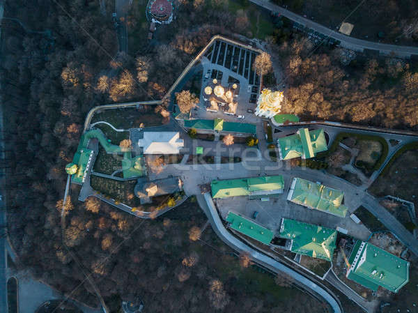 Aerial view from the drone to the Kiev Pechersk Lavra and historical building in city of Kiev, Ukrai Stock photo © artjazz