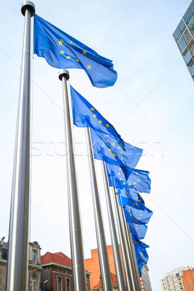 Flags in front of the EU Commission building Stock photo © artjazz
