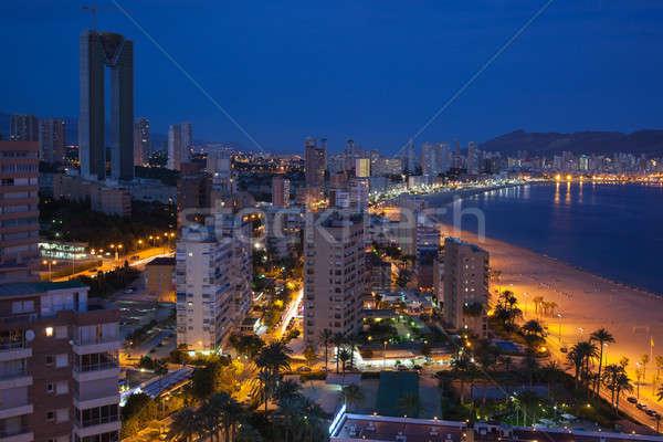Vue nuit plages gratte-ciel Europe espagnol Photo stock © artjazz