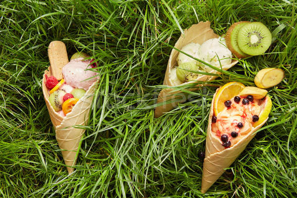 Stock photo: Berry ice cream in waffle cone