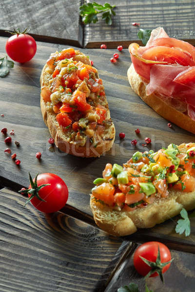assorted Italian appetizer bruschetta Stock photo © artjazz